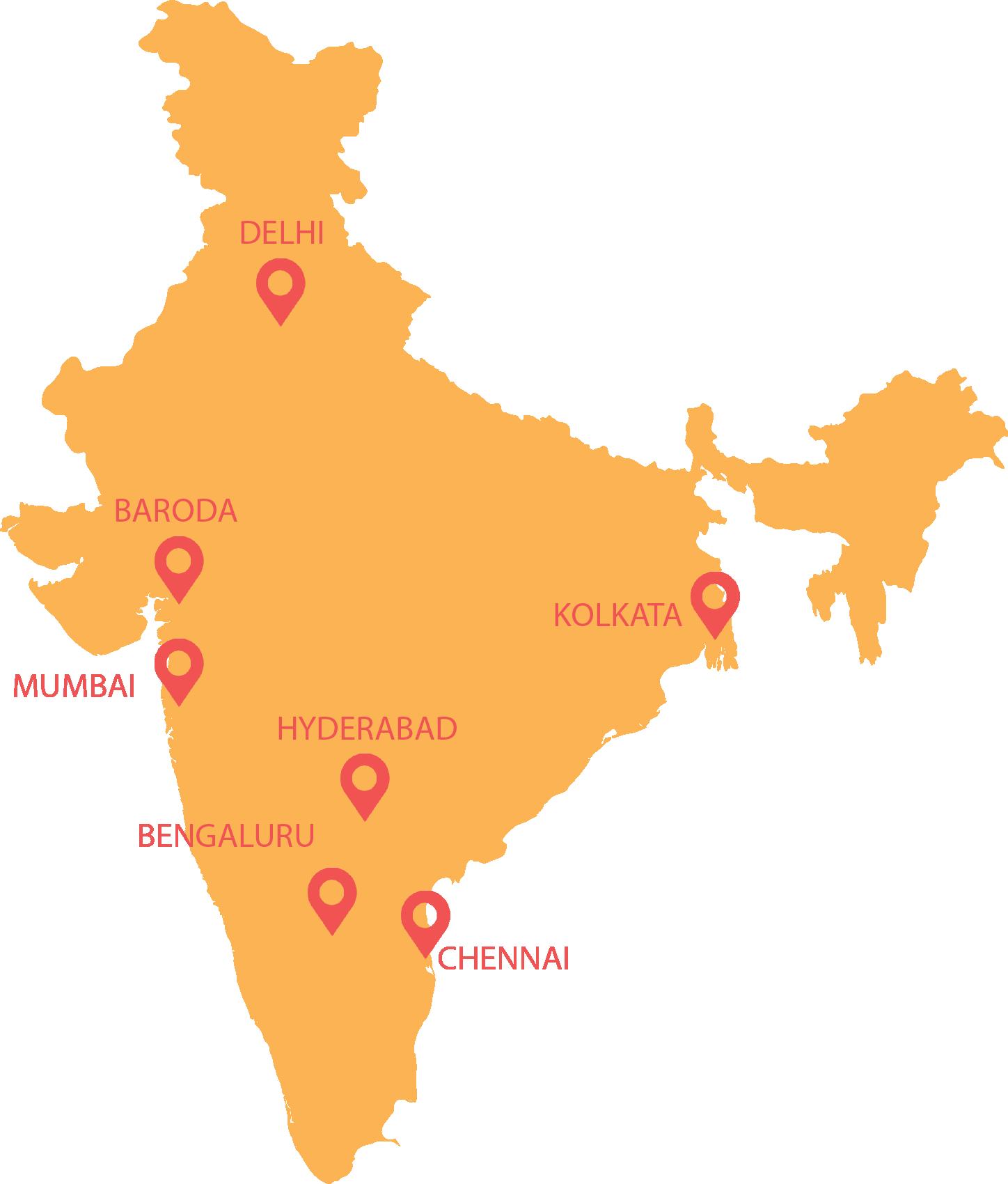 Baroda India Map.United Way Of Mumbai